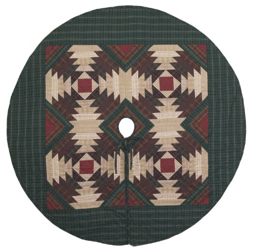 Pineapple Log Cabin Quilted Christmas Tree Skirt 60 Inches Round 100% Cotton Handmade Hand Quilted Heirloom Quality by Choices Quilts (Image #1)