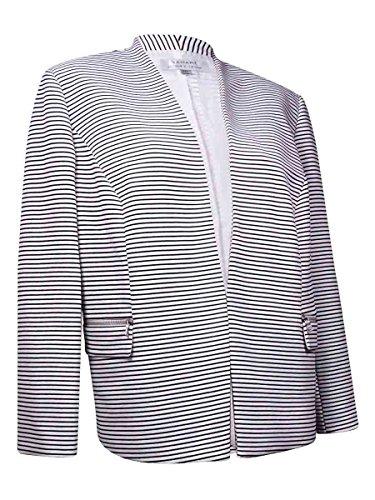 Tahari Women's Collarless Zipper Pocket Striped Blazer (24W, White/Black)