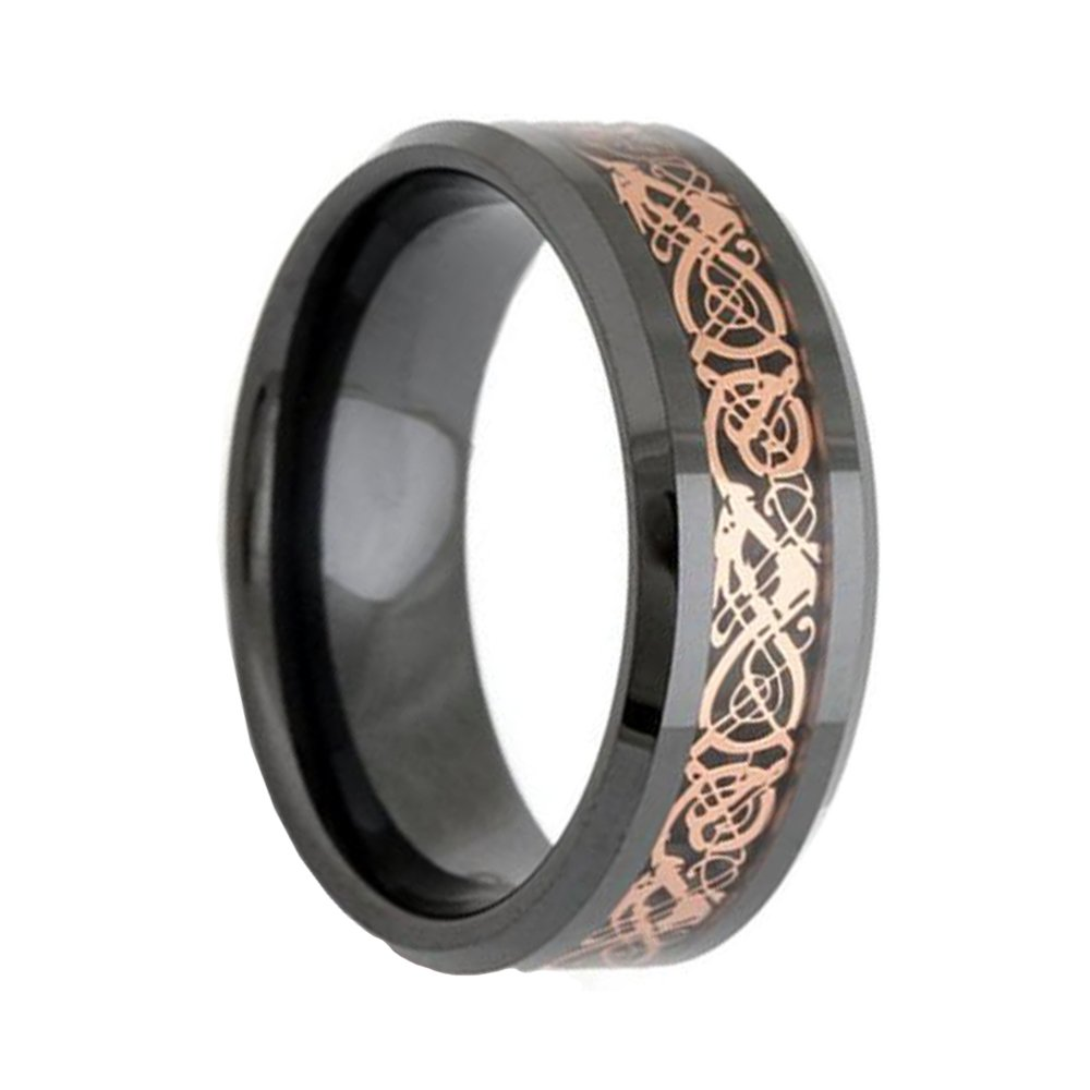 8mm Tungsten Carbide Ring Dragon Pattern Rose Gold Carbon Fiber Inlay Men's Wedding Band Amazon: Carbon Fiber Wedding Band Rose At Reisefeber.org