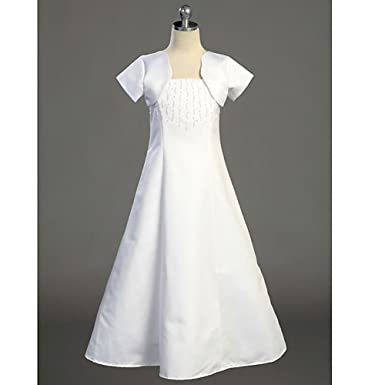 a4ae281226b Amazon.com  Lito Plus Size Girls White Full Length First Communion Dress  Set 12.5  Special Occasion Dresses  Clothing