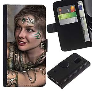 EJOY---Tirón de la caja Cartera de cuero con ranuras para tarjetas / Samsung Galaxy S5 V SM-G900 / --Chica tribal lindo
