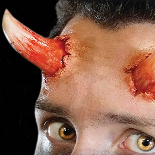 [Tinsley Transfers Reg. Size DEVIL HORNS - Film Quality Realistic 3D Prosthetic Makeup FX Transfer. Apply With] (Zombie Prosthetics)