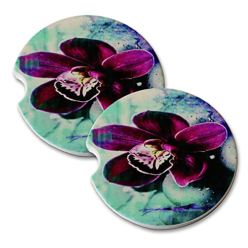 Orchid And Pebble Bed - Car Cup Holder Natural Stone Drink Coaster Set