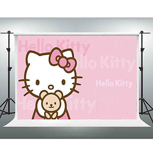 GESEN Pink Cartoon Backdrop 7x5ft Hellokitty Birthday Theme Party Photography Background for Children Baby Shower Background Photo Booth Studio Props GYGE358