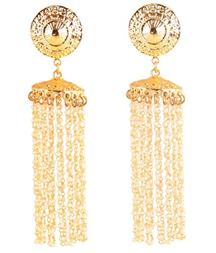 (New! Touchstone Indian Bollywood Distinctive And Modern Style Designer Jhumki Chandelier Long Earrings Hung With Intertwined Faux Pearls In Antique Gold Tone For Women.)