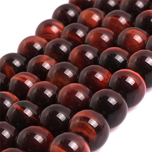 (Red Tiger Eye Beads for Jewelry Making Natural Gemstone Semi Precious 8mm Round AAA Grade 15