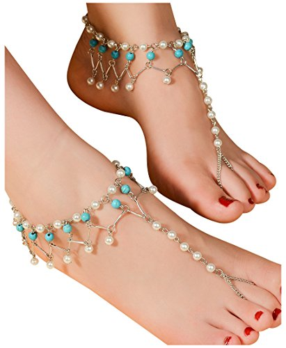 2pcs Pearl Ankle Chain Bracelet Beach Wedding Foot Jewelry Barefoot