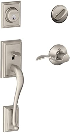 Satin Nickel Addison Single Cylinder Handleset and Right Hand Avanti Lever F60 ADD 619 AVA RH