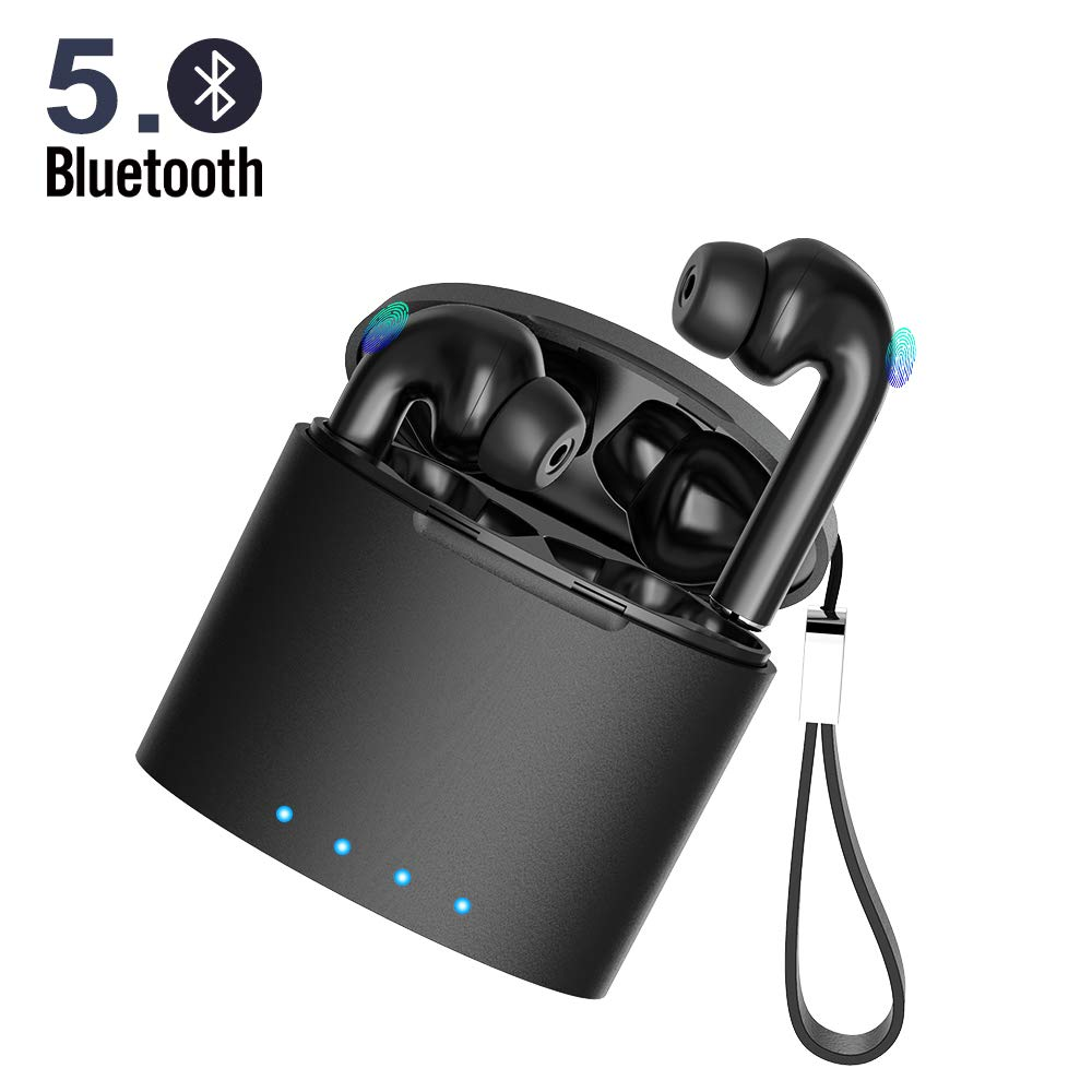 True Wireless Earbuds 5.0 Bluetooth Headphones Touch Control in-Ear Stereo Wireless Earphones with Microphone Charging Case Battery Display Noise-Cancelling Waterproof Sports Bluetooth Headsets Black