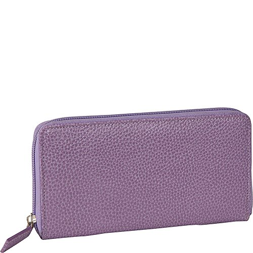 Budd Leather Pebble Grained Leather Large Zip Around Wallet (Purple) Budd Leather Pebble Leather