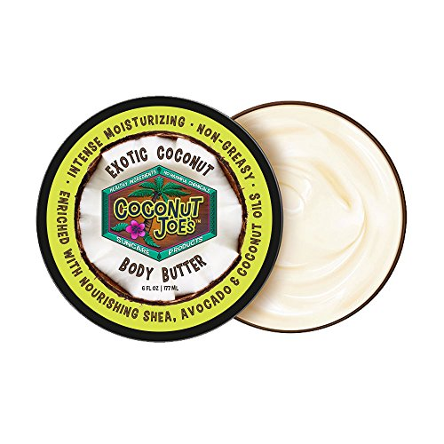 Exotic Butter (Exotic Coconut Body Butter from Coconut Joe's | Coconut Body Butter, Aftersun Moisturizer, Enriched with Shea Oil, Avocado Oil and Coconut Oil, Deeply Moisturizes Your Skin, 6 ounce jar)