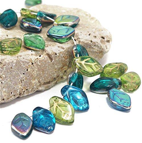 Leaves Glass - 45 pcs Multicolor Mix of Czech Glass Leaf Beads 12mm