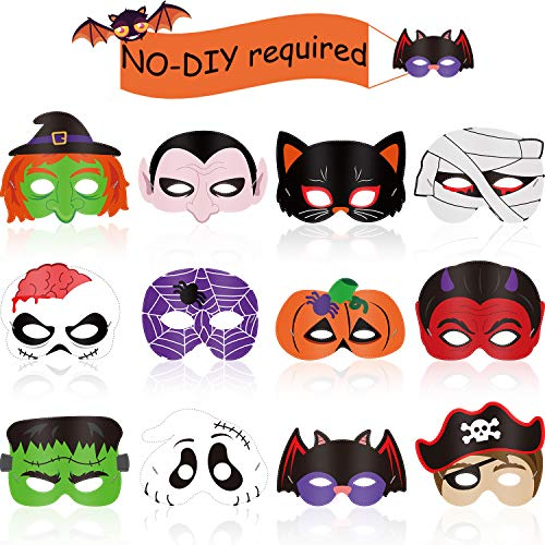 Blulu 12 Pieces Halloween Mask Craft Kit for Kids Halloween Party Favors Kids Costumes Dress-Up Party Supplies, Halloween Mask Set Halloween Crafts Supplies and Halloween Prizes