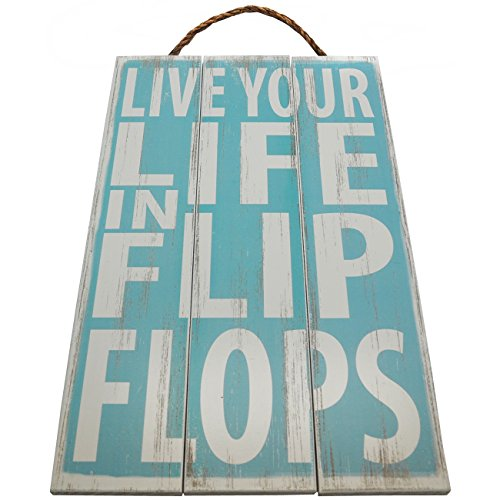 Live Your Life in Flip Flops Vintage Wood Sign For Beach House Wall Decor Or Gift -- PERFECT BEACH HOUSE DECOR! (Flip Flop Home Decor)