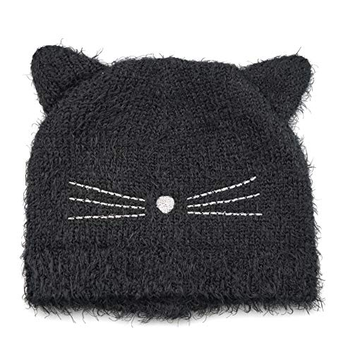 accsa Toddler Kid Girl Halloween Dress Fluffy Black Cat Ear Knit Beanie Cute Rib Hat Age 3-6 YRS