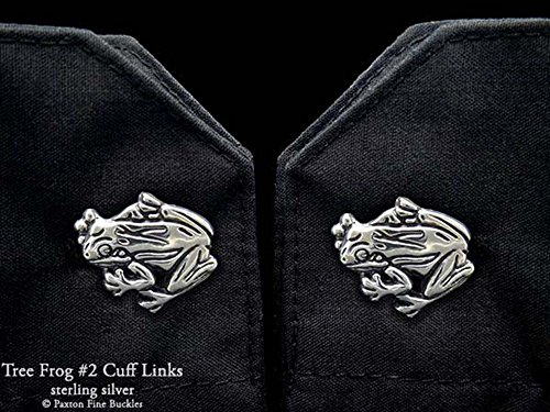 Tree Frog 2 Cuff Links in Solid Sterling Silver Hand Carved & Cast by Paxton by Paxton Jewelry