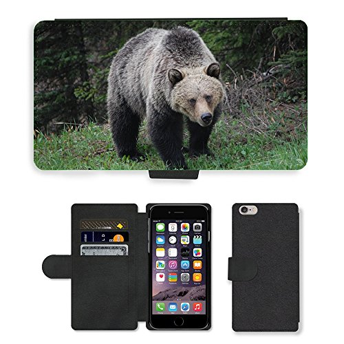 Just Phone Cases PU Leather Flip Custodia Protettiva Case Cover per // M00129256 Grizzly Bear Ours faune animale // Apple iPhone 6 PLUS 5.5""