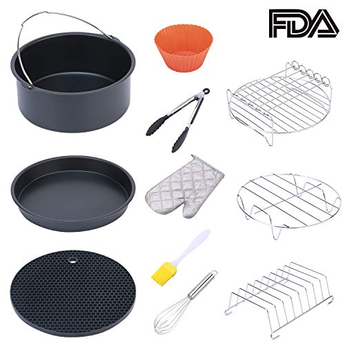 (ColorGo Air Fryer Accessories 7 inch Fit all 3.7 QT-5.3 QT, Suit for Philips, Coynza,Gowise Includes Cake Barrel, Pizza Pan, Skewer Rack, Bread Rack,Metal Holder and so on Set of 11 (7 inch))