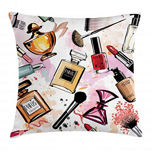 Ambesonne Fashion Throw Pillow Cushion Cover, Cosmetic and Makeup Theme Pattern with Perfume Lipstick Nail Polish Brush Modern, Decorative Square Accent Pillow Case, 16 X 16 Inches, - Pillow Girly