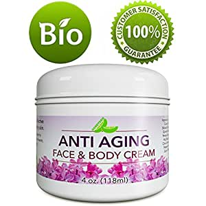 Natural Anti Aging Cream for Face and Neck – Daily Facial Moisturizer – Scar Remover Cream for Old Scars – Blemish Removal for Men & Women – Stretch Mark Remover with Vitamin E Cocoa & Shea Butter