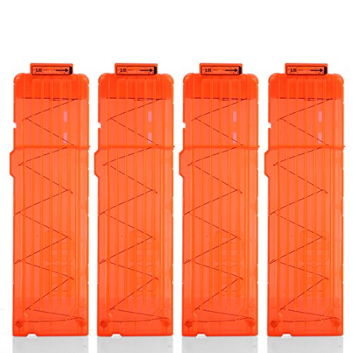 Yamix 4 Pack 18-Dart Quick Reload Clip Bullet Clips Magazine Clips for nerf n Strike Elite Blaster - Transparent Orange