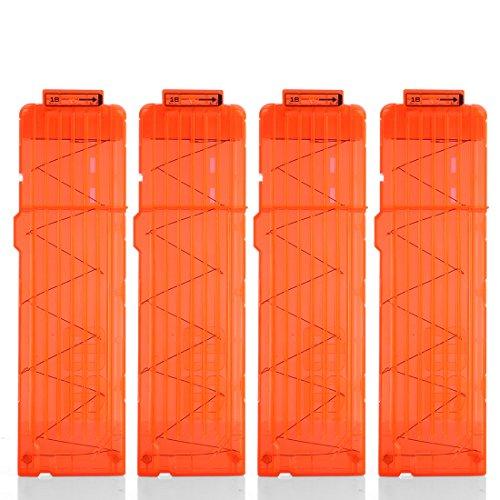 Yamix 4 Pack 18-Dart Quick Reload Clip Bullet Clips Magazine Clips for nerf n Strike Elite Blaster - Transparent Orange