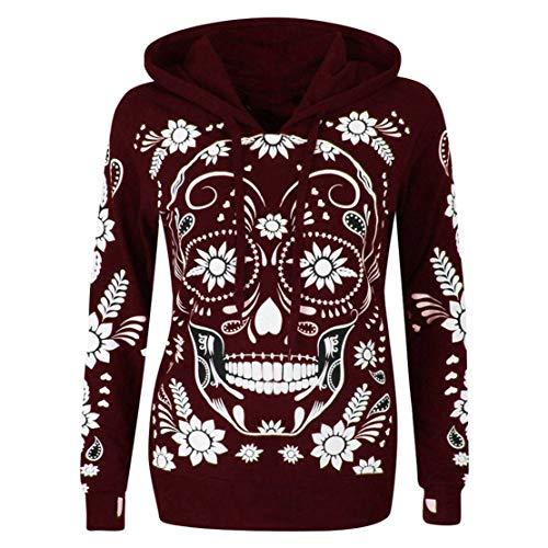 (Mikey Store Women Long Sleeve Skull Print Hooded Sweatshirt Pullover)