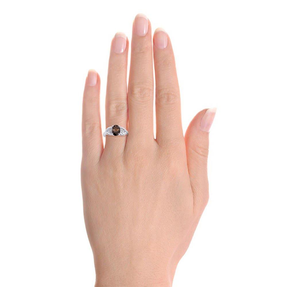 Diamond /& Smoky Quartz Ring Set In Sterling Silver Diamond Wings Design