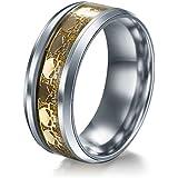 Men Women The Punisher Skull Stainless Steel Titanium Wedding Band Ring Size6-13#by pimchanok shop (10, Gold)
