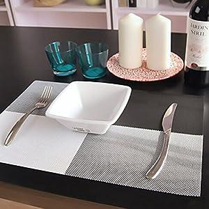 Yooyoo 4pcs/set Placemat Crossweave Woven Vinyl Non-slip Insulation Placemat Washable Table Mats