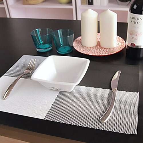 Yooyoo 4pcs/set Placemat Crossweave Woven Vinyl Non-slip Insulation Placemat Washable Table Mats