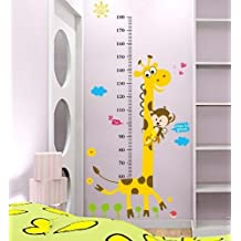 Large Monkey and Giraffe Kids height growth chart nursery wall decor removable decal baby bedroom sticker
