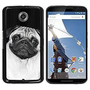 Caucho caso de Shell duro de la cubierta de accesorios de protección BY RAYDREAMMM - Motorola NEXUS 6 / X / Moto X Pro - Cute Happy Pug Dog