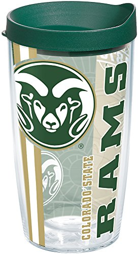 Tervis 1226253 Colorado State Rams College Pride Tumbler with Wrap and Hunter Green Lid 16oz, Clear ()
