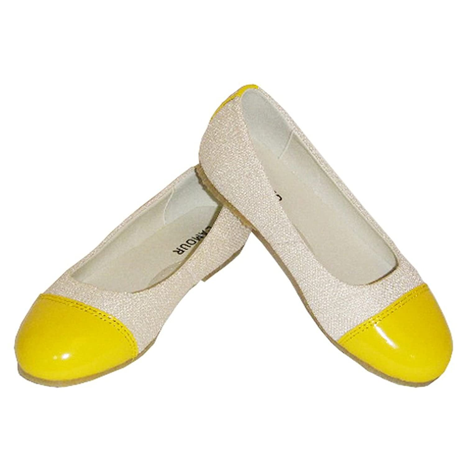 Amazon.com | Ivory Yellow Patent Toe Flat Toddler Little Girls ...