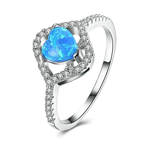 AnaZoz Fashion Rings, Silver Plated Zirconia Heart Lab Created Blue Opal Women Wedding Rings Size 6 Plated Created Diamond Hearts Ring