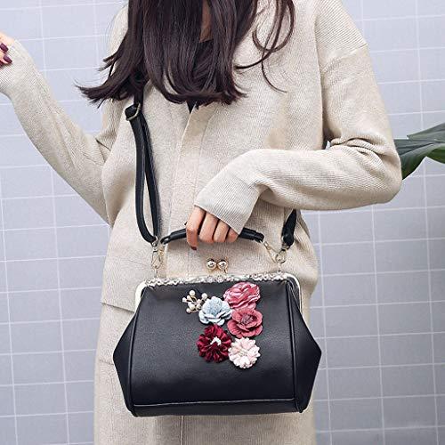 pelle in fiori a di per tracolla con donna design Borsa neri Weishazi ETtwRUAwq