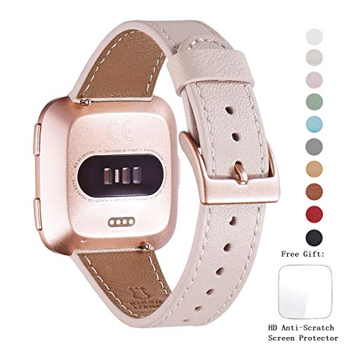 WFEAGL for Fitbit Versa Bands, Top Grain Leather Band Replacement Strap for Fitbit Versa Fitness Smart Watch (Pink Sand Band+ Rosegold Buckle) ()