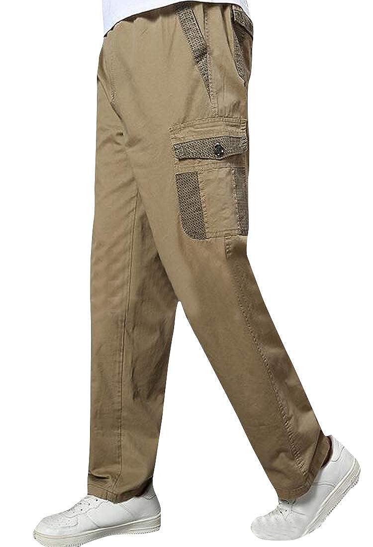 Fubotevic Mens Rugged Straight Leg Cotton Plus Size Mutli-Pockets Outdoor Work Cargo Pants