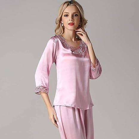 GOUDAN pijama de seda 100% para mujer, conjunto de pijama ...
