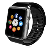 TURNMEON Smart Watch Phone with SIM Card GSM GPRS Text 240240 IPS Screen Sync Notifier Facebook Twitter Bluetooth Wrist Smartwatch for Samsung iPhone IOS Android Smartphone (Black)