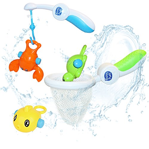 Baby Bath Toy, Fish Net Playset, Bathroom Play Fishing Game with Cute Spotted Fish, Bathtub Fun Time Toy, Learning, Development Gift for 2, 3, 4 Year Olds Baby Kids Boy Girl Infant – iPlay, iLearn (Bath Time Baby Playset)