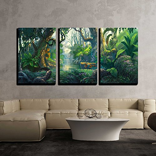 wall26 - 3 Piece Canvas Wall Art - Illustration - Fantasy Forest Background Illustration Painting - Modern Home Decor Stretched and Framed Ready to Hang - 16