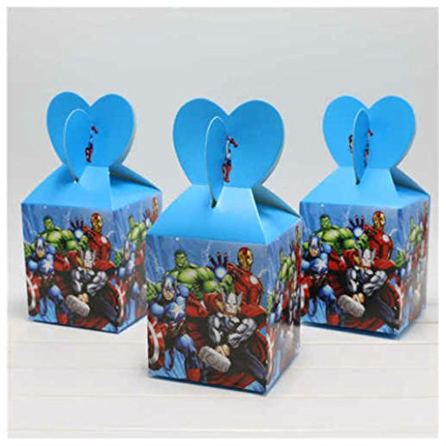 12PCS Candy Box Cartoon Theme Birthday Party Supplies Baby Shower Gift Boxes (AVENGERS) ()
