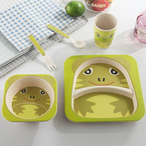 (Best Quality - Dishes & Plates - 5pcs/sets Baby Dish Tableware Set Natural Bamboo Fiber Bowl With Cup Spoon Plate Fork Feeding Dishes for Kids Utensils - by SeedWorld - 1 PCs)