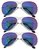 Aviator Style Sunglasses Silver Color Metal Frame Mirror Colored Lens Blue-Green 3 Pack, UV Protection