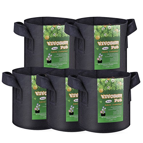 VIVOSUN 5-Pack 3 Gallon Plant Grow Bags,  Series
