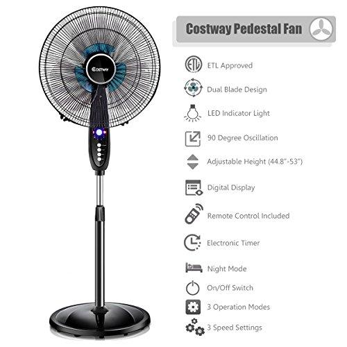 costway-16-adjustable-pedestal-fan-3-speed-quiet-oscillating-stand-dual-blade-wremote-control-timer
