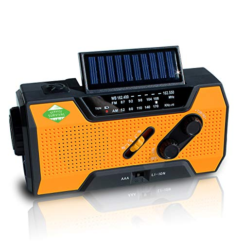 Service Survival Emergency Radio & NOAA Weather Radio | 2000mAh Hand Crank Radio & Battery Powered Radio AM/FM NOAA Solar Radio Weather Radio Weather Radio LED Flashlight USB Power Charger