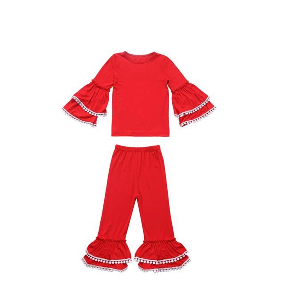 Pretty Solid Red Christmas Outfit with Pompom Bell Sleeves and Leg Bottoms
